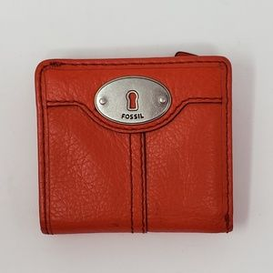 Fossil Orange Leather Wallet